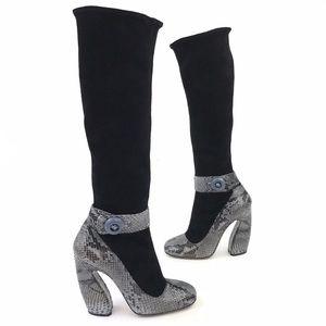 Prada Snakeskin Knee High Block Heel Boots 38